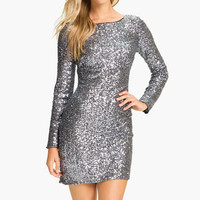 Aidan Mattox Long Sleeve Sequin Sheath Dress | Nordstrom