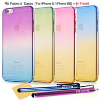 SeiroKern Bundle of 4x Pieces Thin Rainbow Gradient Cases [Slim Fit] (4.7-inch) iPhone 6 / iPhone 6S, Translucent Clear Flexible Gel Soft TPU Cover For Apple iPhone 6 6S (4Color in a Set), + Styluses