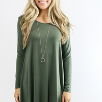 Royal Tower Piko Army Green Long Sleeve Basic Dress