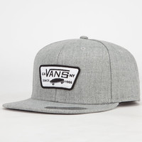 Vans Full Patch Mens Snapback Hat Grey One Size For Men 23337111501