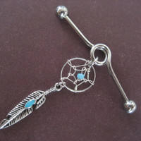 Industrial Barbell Dream Catcher Dangle Turquoise Beaded Dreamcatcher Charm Upper Ear Helix Piericng Bar