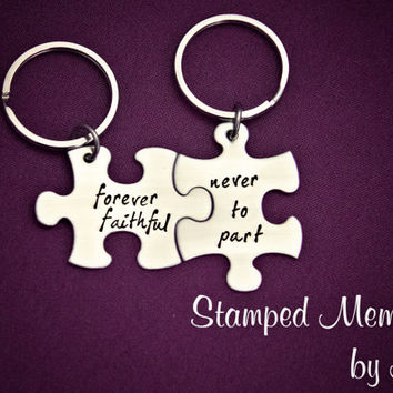 Forever faithful, never to part - Hand Stamped Puzzle Piece Keychain Set - Couple Key Chain - Wedding, Anniversary, Distance Matching Set