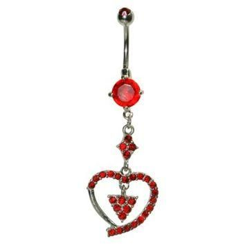 Women's Supreme Jewelry? Curved Barbell Belly Ring with Stones - Silver/Red