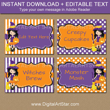 Halloween Buffet Cards Template - EDITABLE Halloween Candy Buffet Labels - Girl Halloween Labels - Instant Download Purple Witch Labels WDS