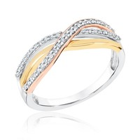 Tri-Tone Diamond Fashion Criss-Cross Ring 1/5ctw