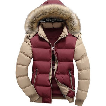 New Fashion Male Premium Casual Cotton Warm Hooded Coat Contrast Color Men Winter Jacket Veste Manteau Homme [9305694343]