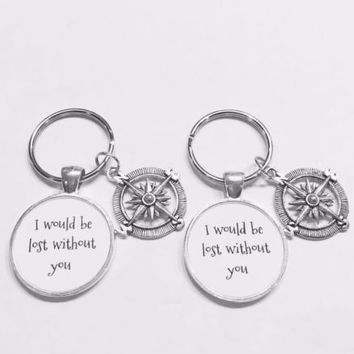 Compass I Would Be Lost Without You Best Friend Sister Gift Keychain Set