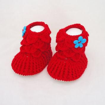 Crochet Baby Booties, Baby Girls Booties, Ugg Booties, Red Booties, Crocodile Stitch B