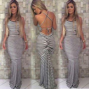 LMFUNT Women's Long Sleeve Boho Striped Party Summer Sexy Backless  Beach Maxi Dress