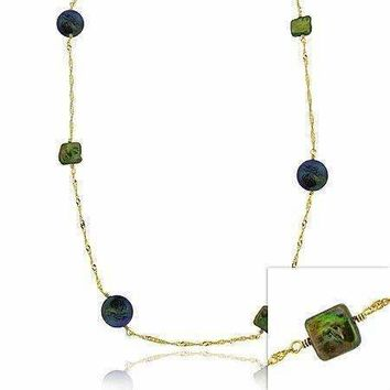 18K Gold over Sterling Silver Freshwater Cultured Green & Peacock Coin Pearl Chain Necklace