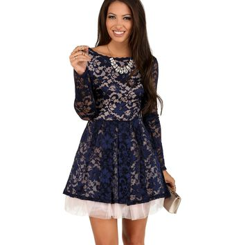 Jordan- Navy Lace Rose Dress