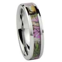 Women's Camo Hunting Camouflage Wedding Band Pink/Rose/Green 6mm Tungsten Carbide Rings