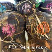 Monogrammed HAT, Camo hat monogrammed name or initials.-  Monogrammed with your Initials.  Great running cap or knock-around cap.