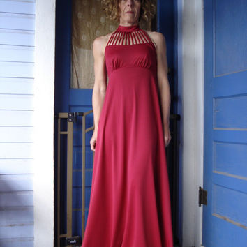 1970s Claret Ruby Red Birdcage Disco Maxi Halter Evening Prom Dress Size Small Medium 2013149