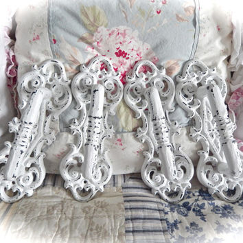 SHABBY Old World Scrolled Ornate Dresser DRAWER Handle Knobs PULLS Winter White Hardware Cottage Chic Set of 4