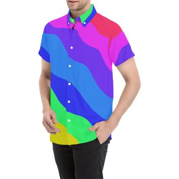 Bold Rainbow Fashion Men's All Over Print Short Sleeve Shirt (Model T53) | ID: D2816435