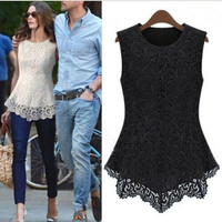 Irregular Sleeveless Embroidery Lace Top [6269674052]