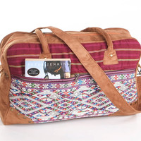 Ethnic Weekender Bag Carry on Bag Vintage Oriental Textile Vacation Bag, College Bag