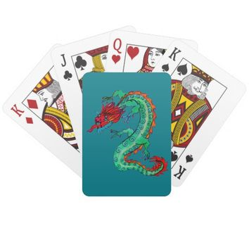 Red and Green Dragon on Playing Cards