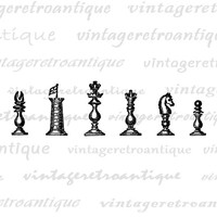 Chess Pieces Graphic Printable Image Digital Download Artwork Vintage Clip Art Jpg Png Eps  HQ 300dpi No.4090