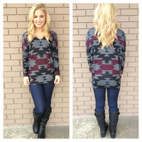 Grey & Burgundy Aztec Print Long Sleeve Top