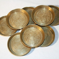 Set of 8 Brass Pin Dishes, Made in India Coasters, Trays