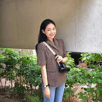 프롬비기닝 [Lady half check jacket_B (size : free)]