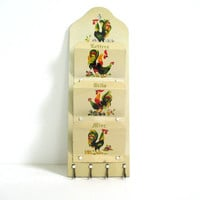 Vintage hanging metal letter and bill holder organizer with roosters and key hangers