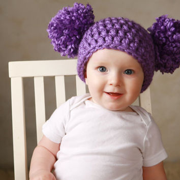 Newborn Baby Girl Hat Chunky Purple Crochet Knit Infant Double Pom Pom Beanie Photography Prop