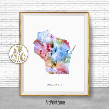 Wisconsin Print Wisconsin Art Wisconsin Decor Wisconsin Map Art Print Office Print Watercolor Map Office Poster Office Decor ArtPrintZone