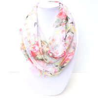 Summer Infinity Scarf, Floral Scarf, Colorful Scarf, Spring Scarf, Chiffon Scarf, Light Scarf, Hostess Gift, Bridesmaid Gift, Thank You Gift