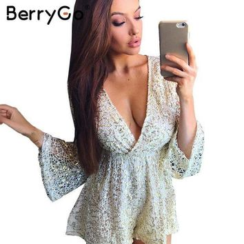 PEAP78W BerryGo Sexy lace gold sequin jumpsuit romper Women hollow out long flare sleeve overalls Summer 2017 deep v neck black playsuit