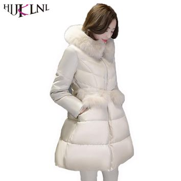 HIJKLNL Korean Style Puffer Jacket 2017 Women Winter Long Hooded Down Jacket Coat With Fur Female PU Sleeve Down Parka NA313