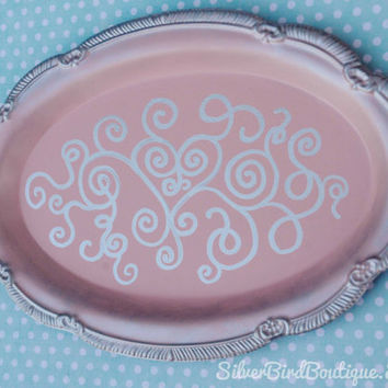Vintage Upcycled Tray, Shabby Chic Jewelry Tray, Romantic Decor, Swirl Heart Design, Wedding, Pastel Pink, Silver, Decorated Oval Repurposed