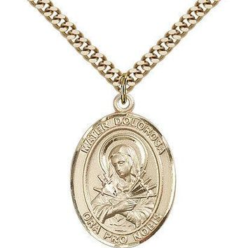 "Mater Dolorosa Medal For Men - Gold Filled Necklace On 24"" Chain - 30 Day Mon... 617759676365"