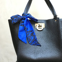 Blue Purse Scarf Hair Scarf Hair Wrap Neck Bow Hair Bow Wrist Scarf Hair Accessory Black Flowers Women's Handbag Scarf Small Gift