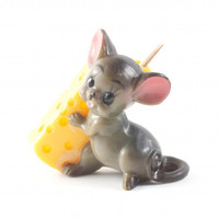 Cute Mouse and Cheese Toothpick Holder Kitsch Retro Kitchen / Vintage 60s 70s