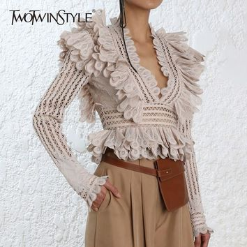 TWOTWINSTYLE Lace Ruffle Shirt Blouse Female V Neck Long Sleeve Sexy Blouses Tops Female Fashion Clothes New