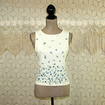 80s Tank Top Butterfly Print Floral Summer Top Sleeveless Crop Top XS Small Cream White Blue 1980s Vintage Clothing Womens Clothing