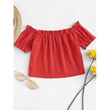 Off The Shoulder Frill Crop Tee Red