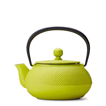 Citron Green Hobnail Cast Iron Teapot