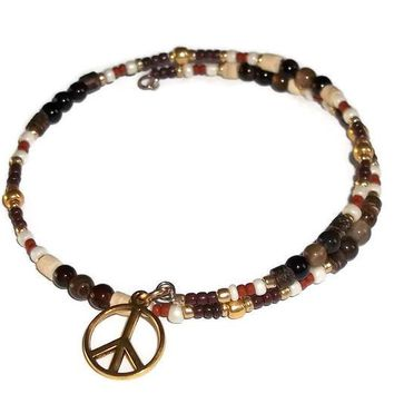 Plus Size Elegance Peace Sign Stackables Brown Striped Agate Multi Color Artisan Crafted Wrap Bangle Bracelet (L-XXL)
