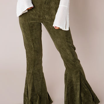 Olive Corduroy Flared Pants