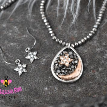 Sun and Moon Beaded Necklace