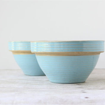 Vintage Western Stoneware Bowls Set of 2 / Small Robin Egg Blue Mixing Bowls / Rustic Bowls