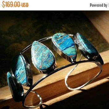 80%OFF SUMMER SALE Picasso jasper Cuff Bangle  Bracelet Gemstone  .925 Sterling  Silver