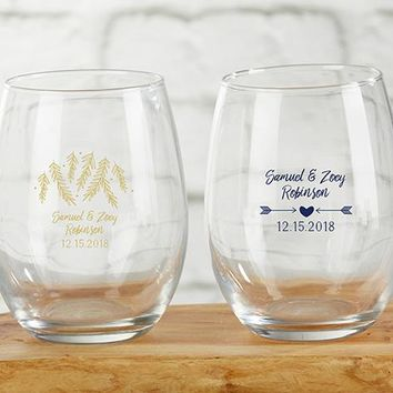 Personalized 9 oz. Stemless Wine Glass - Winter