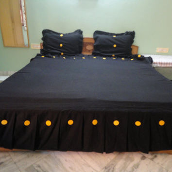 Custom made pleated bed skirt black/Eastern King size/Linen Box Pleated bed skirt/coverlet/four sided/Crib Skirt/CA King Bed Skirt/Tailored