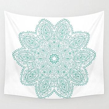 Teal Mandala Wall Tapestry Yoga Meditation Mandala Wall Hanging