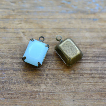 4 - Small Rectangle Jewel Charms BABY BLUE Drop Gem Rectangle 8x10mm Brass Claw Setting Charm or Link Gold Antique Bronze Silver
